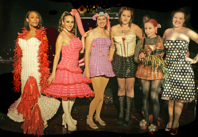 The models pose with designer Tawney Bubbles